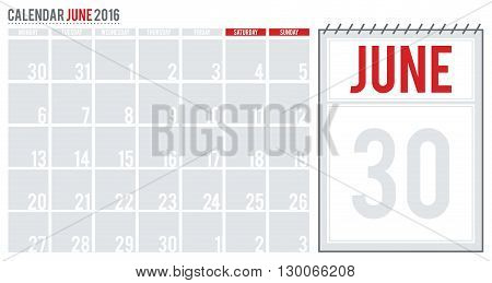 Calendar June 2016. June 2016 planning calendar. Vector illustration.