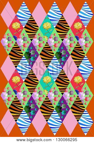 Beautiful patchwork cover from rhombus patches with flowers and waves. Vector illustration of quilt.