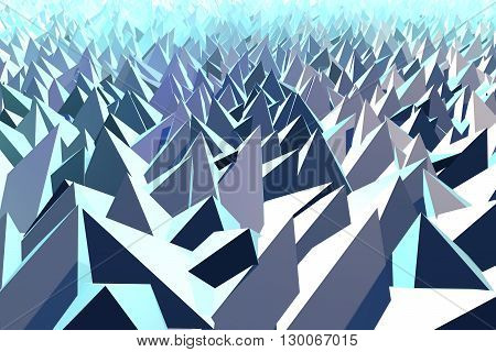 3D Illustration - Abstract low poly background of pyramid shapes.