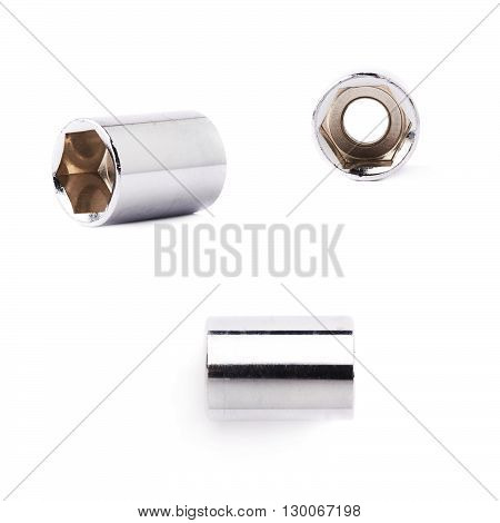 Set of single of metal hex socket of spanner over isolated white background, different foreshortenings
