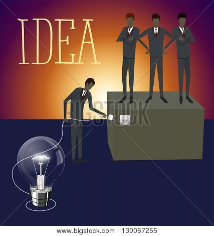 Idea research flat isometry business startup experiment concept vector illustration. Businessman lighting big lamp abstract electronic device
