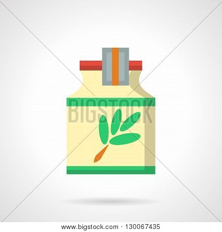 Yellow jar with green leaves label. Herbal cough syrups. Medicine and pharmacology. Medication treatment of colds, alternative therapy.  Flat color style vector icon.