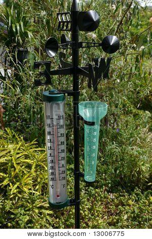 Garden thermometer, rain gauge and weather vane