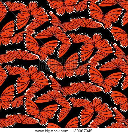 Seamless Pattern In Orange, Black And White Colors