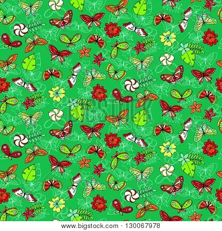 Seamless Pattern With Tropical Butterflies And Different Flowers
