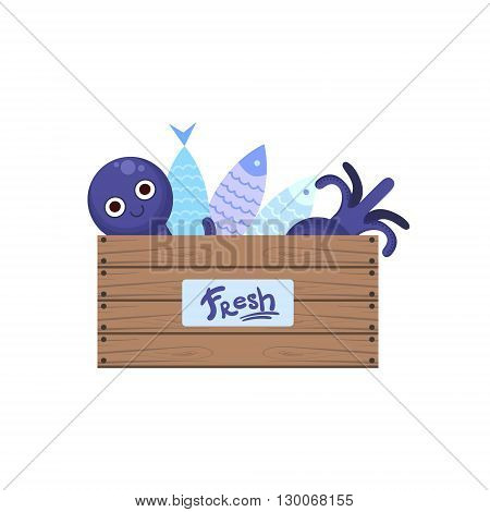 Crate With Fish And Seafood Flat Primitive Design Bright Color Vector Icon On White Background