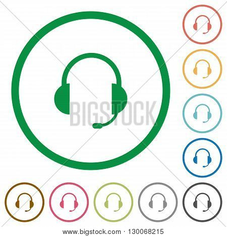 Set of headset color round outlined flat icons on white background