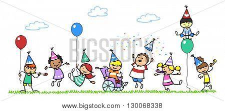 Happy children celebrating birthday with boy in wheelchair