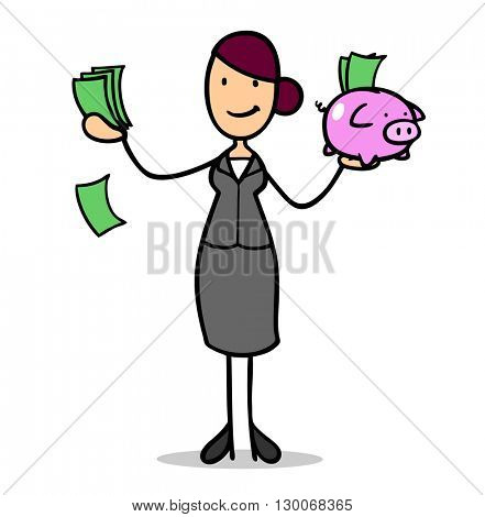 Successful cartoon business woman with money and piggy bank