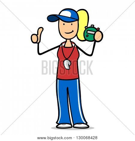 Happy cartoon fitness trainer holding thumbs up with stop watch in her hand
