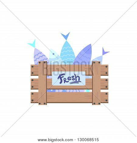 Wooden Crate With Fish Flat Primitive Design Bright Color Vector Icon On White Background