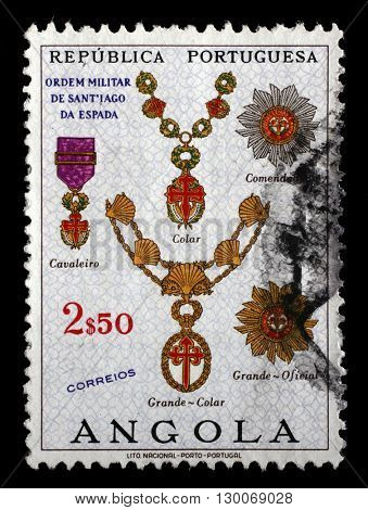 ZAGREB, CROATIA - JUNE 25: a stamp printed in the Angola shows Military Order of Santiago of Espada, Portuguese Civil and Military Orders, circa 1967, on June 25, 2014, Zagreb, Croatia