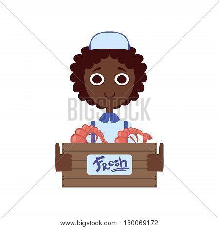 Market Shrimp Female Seller  Flat Primitive Design Bright Color Vector Icon On White Background