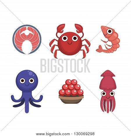 Market Sold Seafood Set Flat Primitive Design Bright Color Vector Icons On White Background