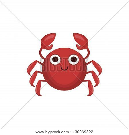 Crab Simple Cartoon Character Flat Primitive Design Bright Color Vector Icon On White Background