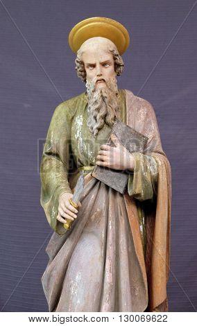 STITAR, CROATIA - DECEMBER 05: Saint Andrew, statue in the church of Saint Matthew in Stitar, Croatia on December 05, 2015