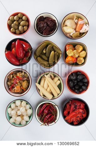 Pickled cucumber, olives, onion, peppers and vegetables