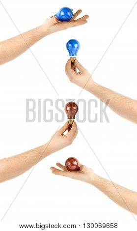 Set of caucasian male hand holding a colored bulb, composition isolated over the white background