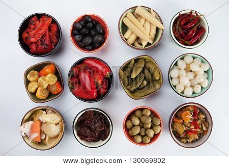 Pickled cucumber, onion, peppers, olives and vegetables