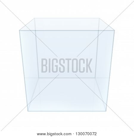 Empty Glass Cube on white background. 3D rendering