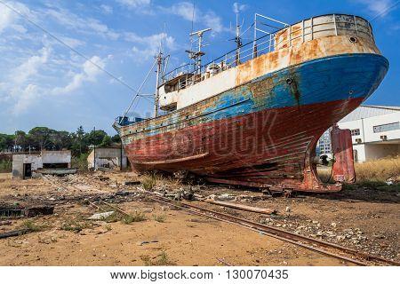 Abandoned fishing ship in a Seixal shipyard. Portugal