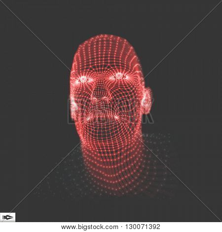 Head of the Person from a 3d Grid. Face Scanning. Vector illustration.