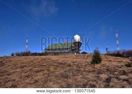 Observation house on Hojsovska hola hill in sunny winter day