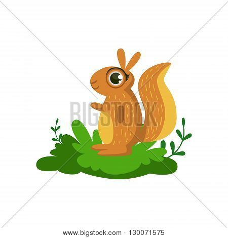 Squirrel Friendly Forest Animal Flat Vector Icon In Cute Girly Style Isolated On White Background