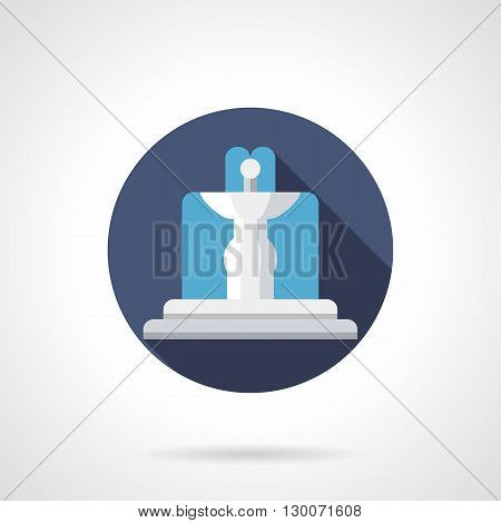 Water flowing white fountain in blue circle with long shadow. Garden decoration, landscape architecture and design. Round flat color style vector icon.