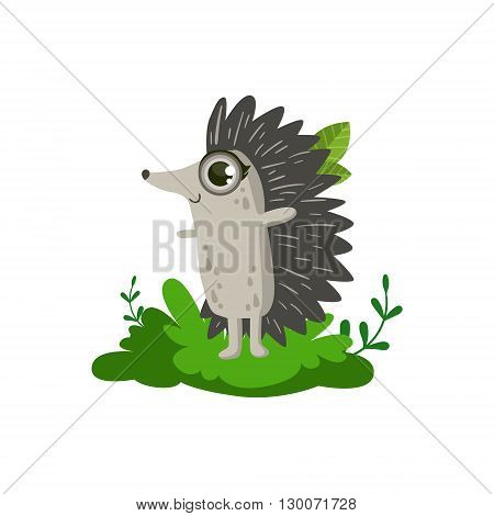 Hedgehod Friendly Forest Animal Flat Vector Icon In Cute Girly Style Isolated On White Background