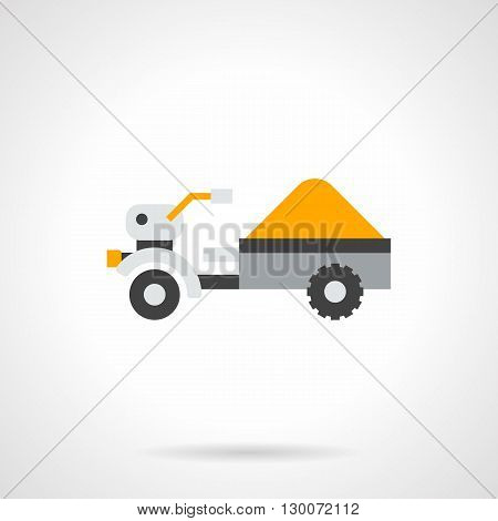 Rural trailer loaded with yellow grain crops. Transportation of grains harvest from fields. Agriculture vehicles and equipment. Flat color style vector icon.