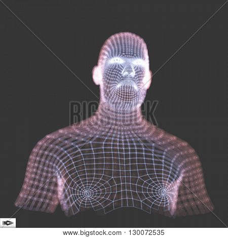 Head of the Person from a 3d Grid.  Geometric Face Design. 3d Polygonal Covering Skin. Vector illustration.