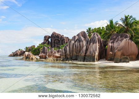 The beach and surrounding rocks at Anse Source d'Argent, La Digue,  Seychelles