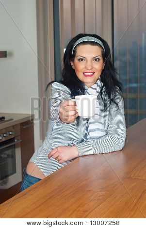 Woman Give You A Cup Of Coffee