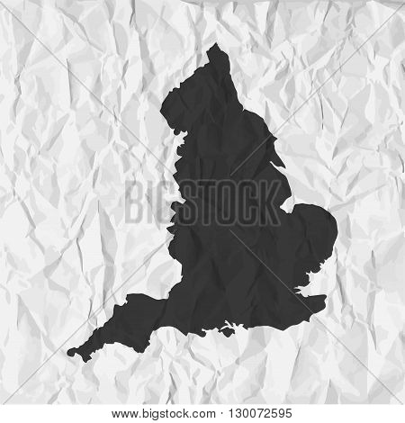 England map in black on a background crumpled paper