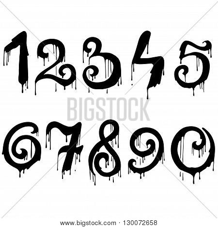 Melted numbers set. Dripping numeral font. Vector illustration.