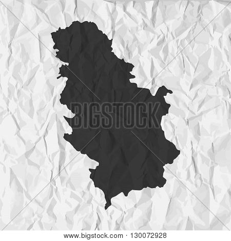 Serbia map in black on a background crumpled paper