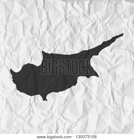 Cyprus map in black on a background crumpled paper
