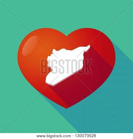 Long Shadow Red Heart With  The Map Of Syria