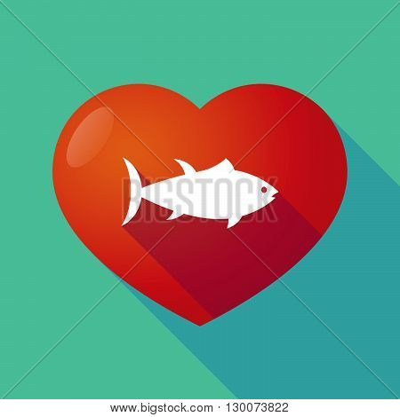 Long Shadow Red Heart With  A Tuna Fish