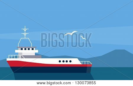 Cargo Ship At The Sea Flat Bright Color Simplified Vector Illustration In Realistic Cartoon Style Design