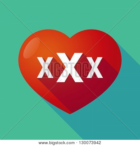 Long Shadow Red Heart With  A Xxx Letter Icon