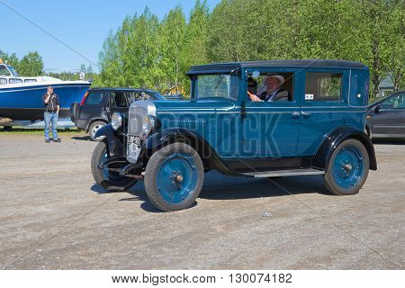 KERIMYAKI, FINLAND - JUNE 06, 2015: Car Chevrolet 1929 issue takes part in the parade of vintage cars