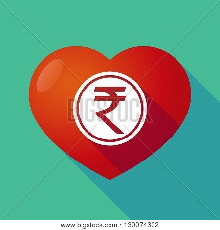 Long Shadow Red Heart With  A Rupee Coin Icon