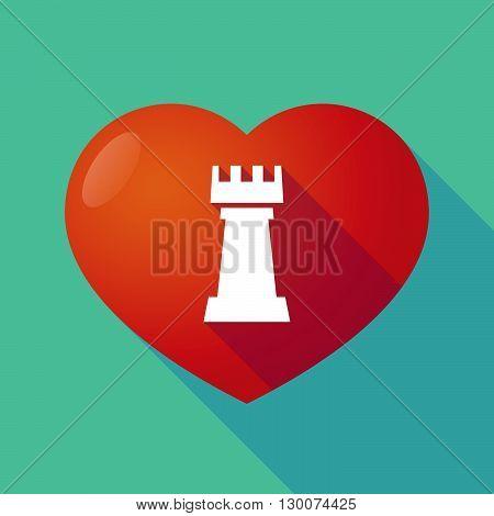 Long Shadow Red Heart With A  Rook   Chess Figure