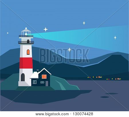 Light House Seascape Flat Bright Color Simplified Vector Illustration In Realistic Cartoon Style Design