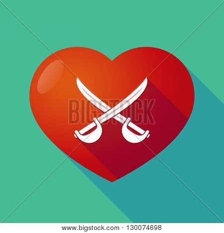 Long Shadow Red Heart With  Two Swords Crossed