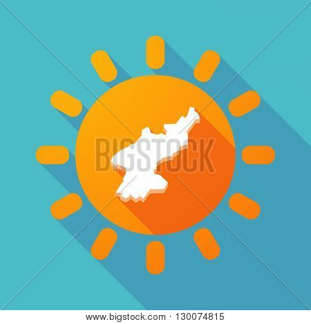 Long Shadow Sun With  The Map Of North Korea