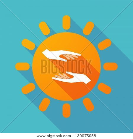Long Shadow Sun With  Two Hands Giving And Receiving  Or Protecting