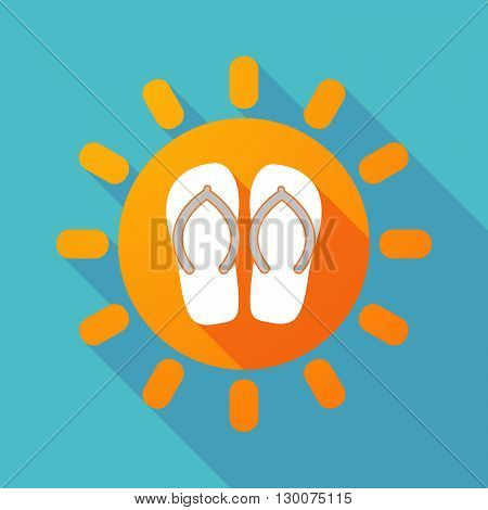 Long Shadow Sun With   A Pair Of Flops